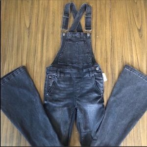 Free People Carly overalls black flare denim